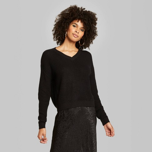 Women's Long Sleeve V-Neck Cropped Sweater - Wild Fable™ Black - image 1 of 2