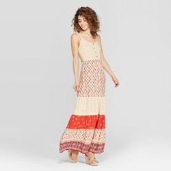 66f642d627e $29.99. Women's Printed V-Neck Strappy Button Front Tiered Maxi Dress -  Xhilaration™ ...