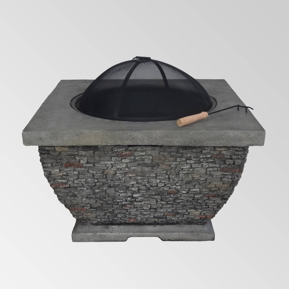 Mia Outdoor Wood Burning Lightweight Concrete Square Fire Pit Gray Christopher Knight Home