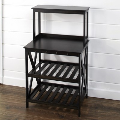 Lakeside Distressed Finish Kitchen Baker's Rack with Hooks for Hanging