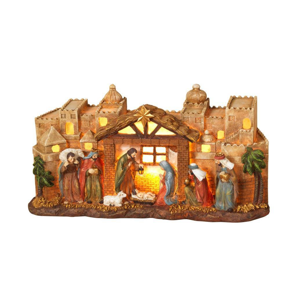 "Image of ""12"""" Lighted Nativity Scene Decorative Figurines - Gerson International"""