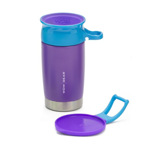 Wow 10oz Kids Stainless Steel Double Walled  BPA Free Sports Bottle - Purple/Turquoise - image 1 of 3