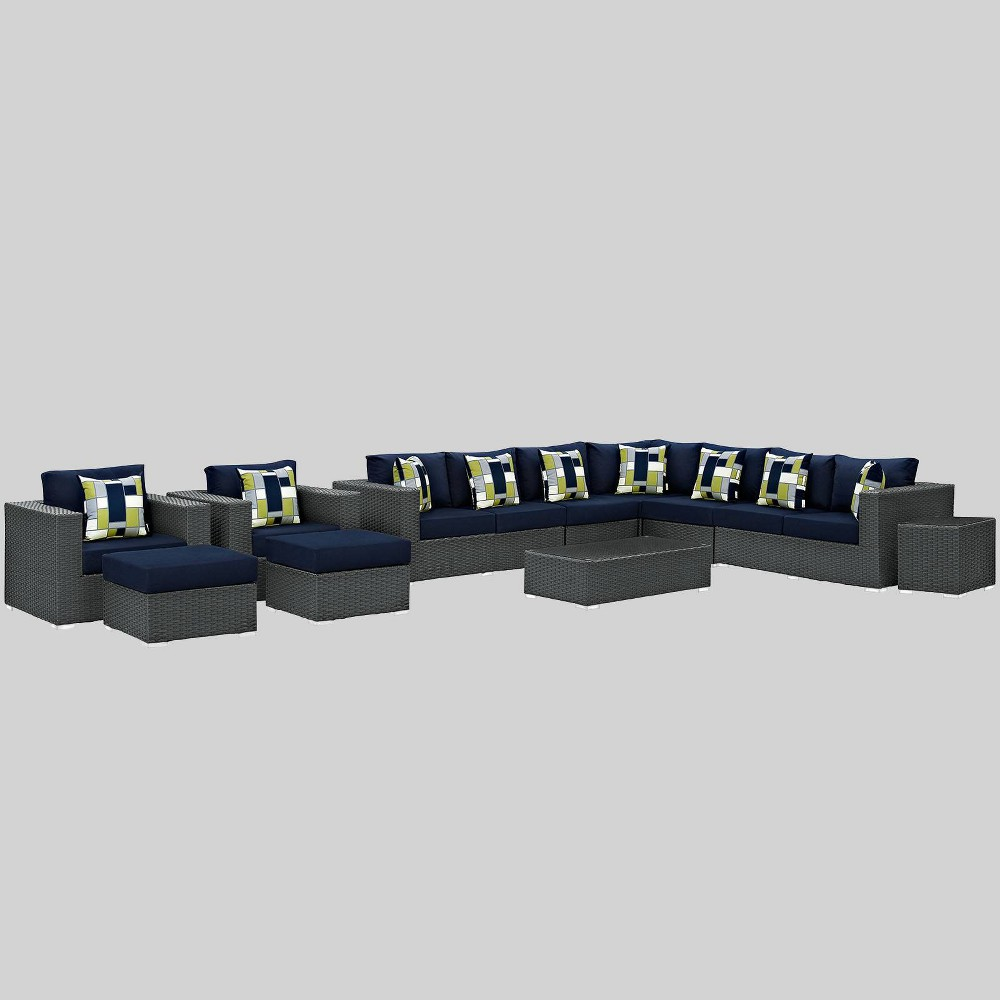 Sojourn 11pc Outdoor Patio Sunbrella Sectional Set - Navy (Blue) - Modway