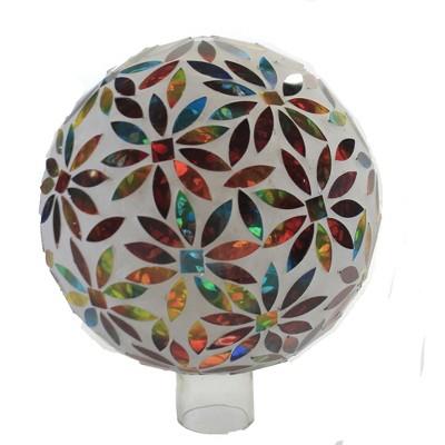 """Home & Garden 9.5"""" Bright Flower Gazing Ball Mosaic Glass Evergreen Enterprises Inc  -  Outdoor Sculptures And Statues"""