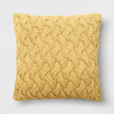 "18""x18"" Chunky Knit Square Throw Pillow Yellow - Threshold™"