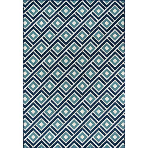 Indoor Outdoor Squares Area Rug Blue