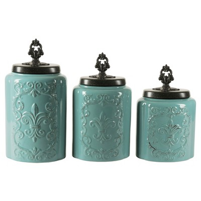 American Atelier® Earthenware 3pc Canister Set Blue