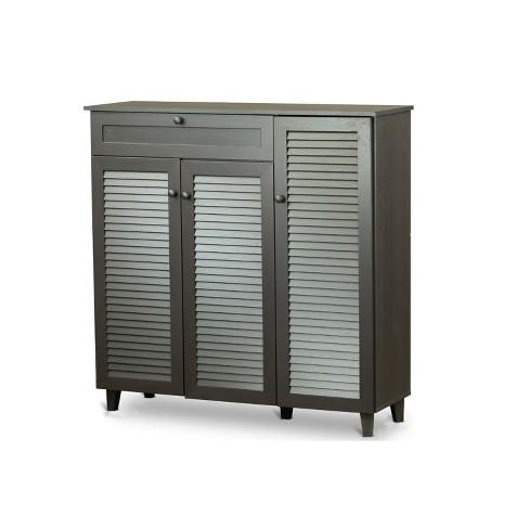 ff8d27564a0 Pocillo Wood Shoe Storage Cabinet Dark Brown - Baxton Studio   Target