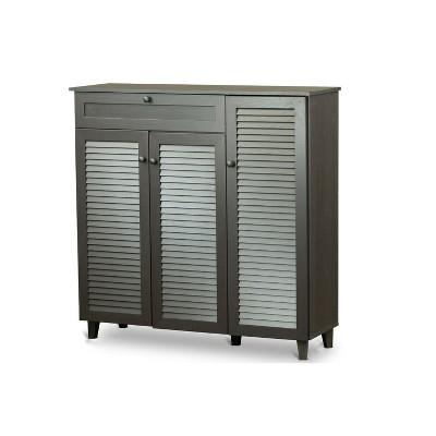 Pocillo Wood Shoe Storage Cabinet Dark Brown   Baxton Studio
