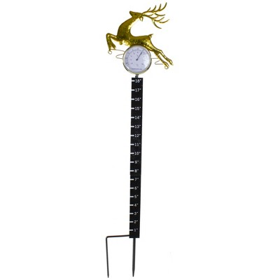 "Northlight 32"" Black and Gold Reindeer Snow Measurer and Thermometer Garden Stake"