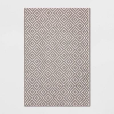 4' x 6' Outdoor Rug Reversible Diamond Gray - Room Essentials™