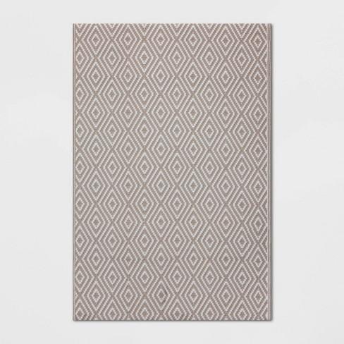 4' x 6' Outdoor Rug Reversible Diamond Gray - Room Essentials™ - image 1 of 3