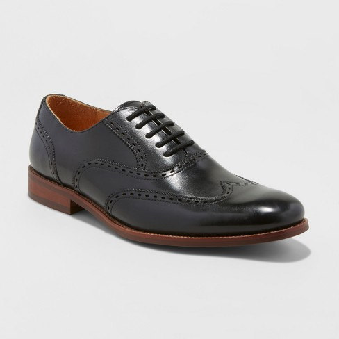 Men's Walton Leather Wingtip Dress Shoes -  Goodfellow & Co™ Black - image 1 of 3