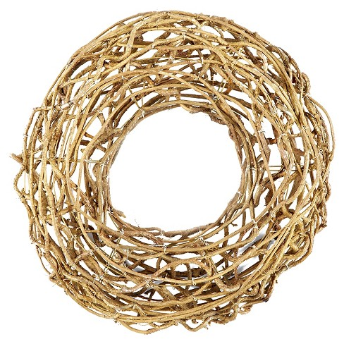 "21.5"" Christmas Rattan Artificial Wreath Gold - image 1 of 1"