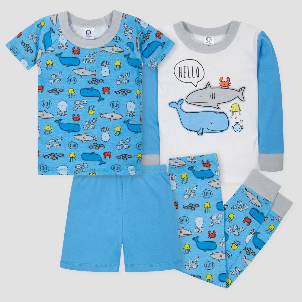 Gerber Toddler Boys' 4pc Under the Sea Long Sleeve Pajama Set - Blue/White 5T