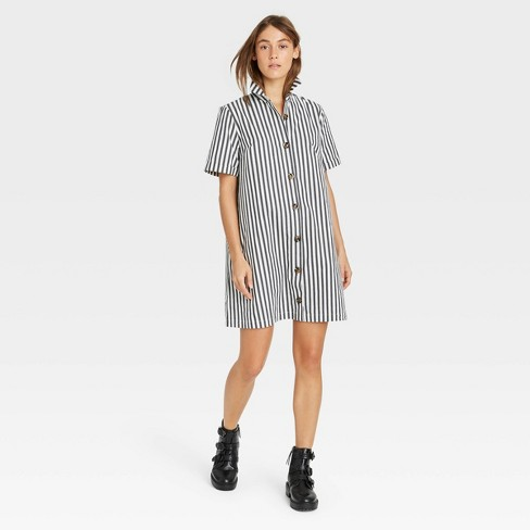 Women's Short Sleeve Button-Up Trapeze Dress - Who What Wear™ - image 1 of 3