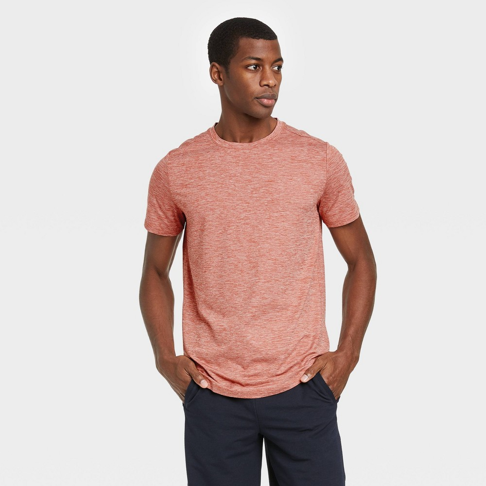 Men 39 S Short Sleeve Soft Stretch T Shirt All In Motion 8482 Red Heather S