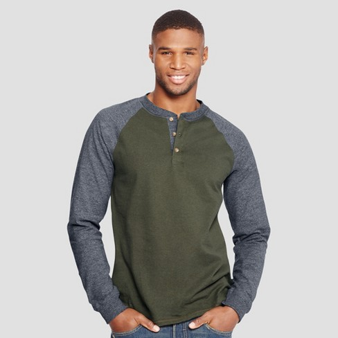 7ad43408666 Hanes Men's Long Sleeve Beefy Raglan Henley Shirt : Target