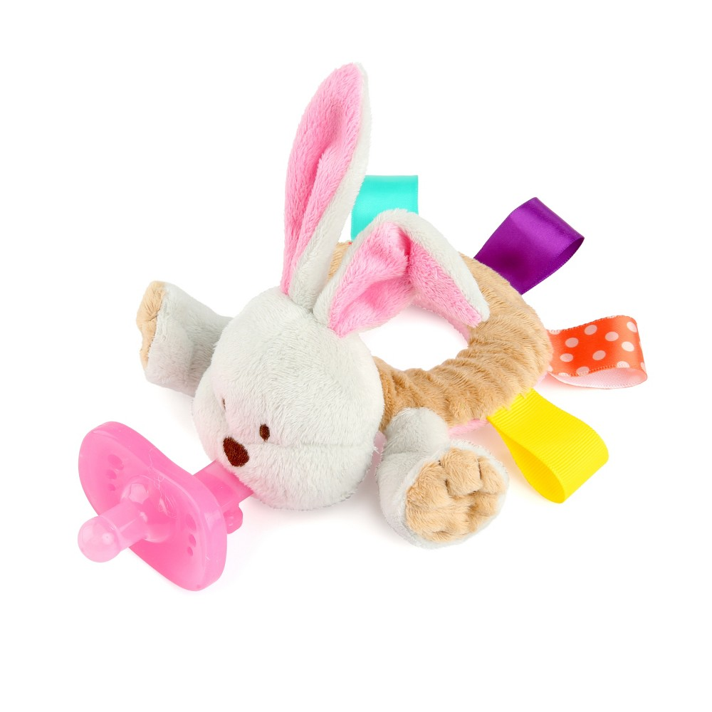 Bright Starts Taggies Cozy Coo Ring Pal - Bunny A cozy and quiet baby is just a hop, skip and a jump away with Taggies Cozy Coo Ring Pal. Flip-floppy ears will make baby coo and cuddle the soft plush toy. The ring-shaped body makes it easy for baby to grasp and hold her new friend while she uses her soothing  binky  or  paci.  Watch as she squishes and squeezes the bean-filled stuffed animal with delight. And with bright-colored Taggies surrounding baby's bunny, there's sure to be nothing but ooohs and awwws ahead. Those silky tabs are like mini security blankets that comfort your baby with every touch. No need to bounce around from pacifier to pacifier, this little bunny pacifier holder is compatible with multiple brands. Gender: Female.