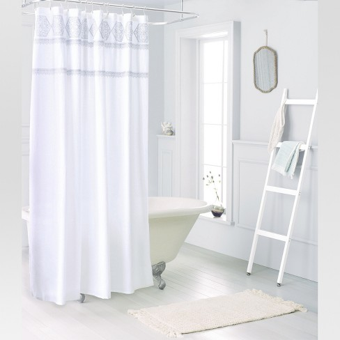 Medallion Sheer Embroidery Shower Curtain White