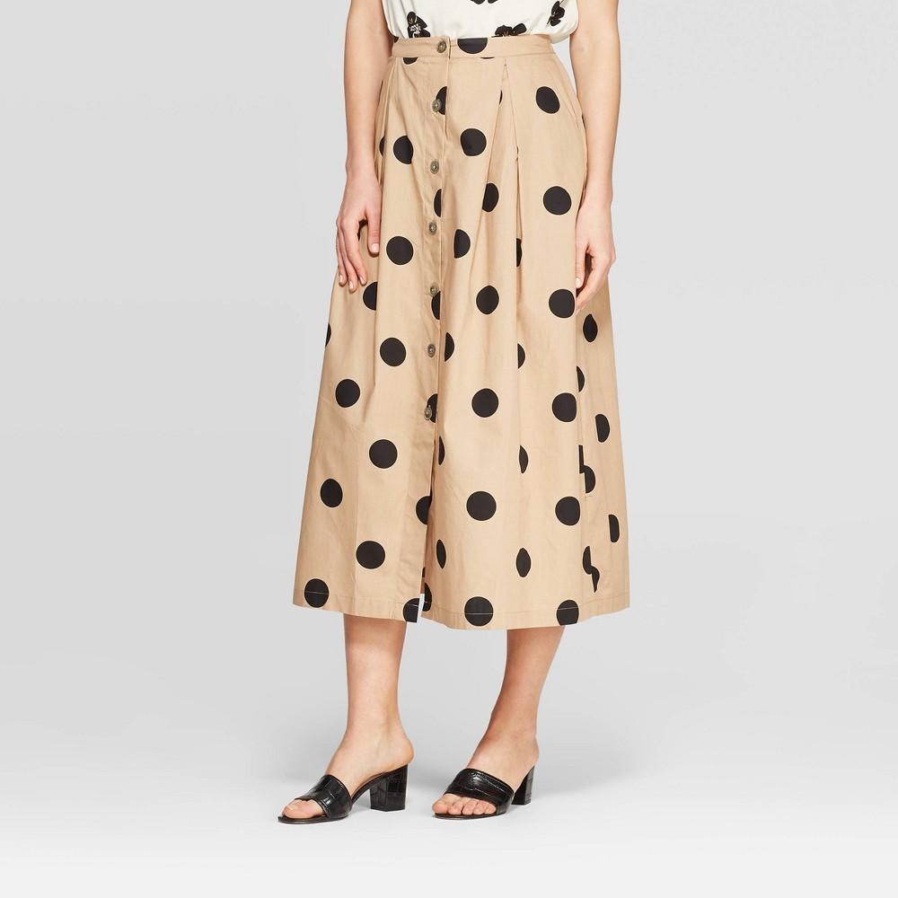 Women's Polka Dot Button Front A-Line Midi Skirt - Who What Wear Khaki/Black (Green/Black) 12