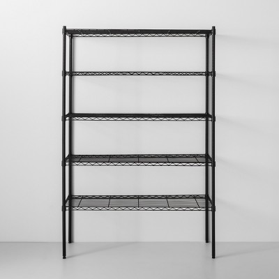 5 Tier Wide Wire Shelf Black - Made By Design™