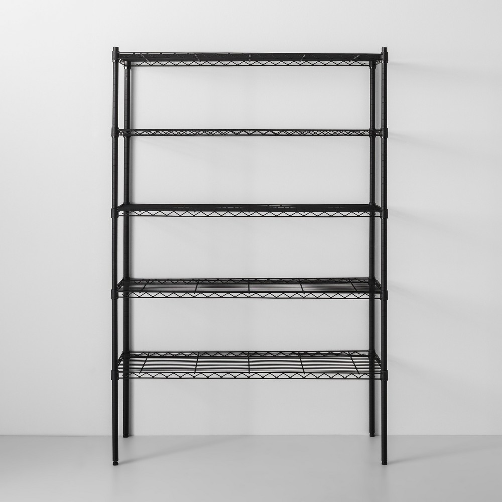 Image of 5 Tier Wide Wire Shelf Black - Made By Design