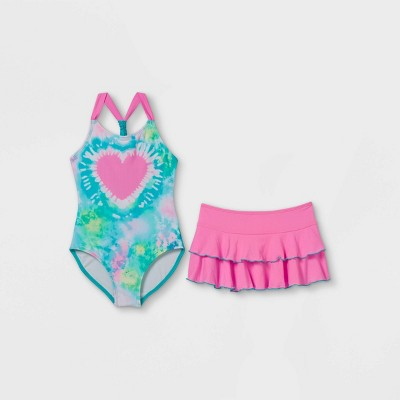 Girls' Heart Tie-Dye with Skirt One Piece Swimsuit Set - Cat & Jack™