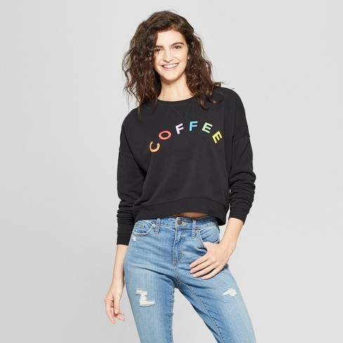 Women's Coffee Rainbow Graphic Sweatshirt - Fifth Sun (Juniors') Black - image 1 of 2