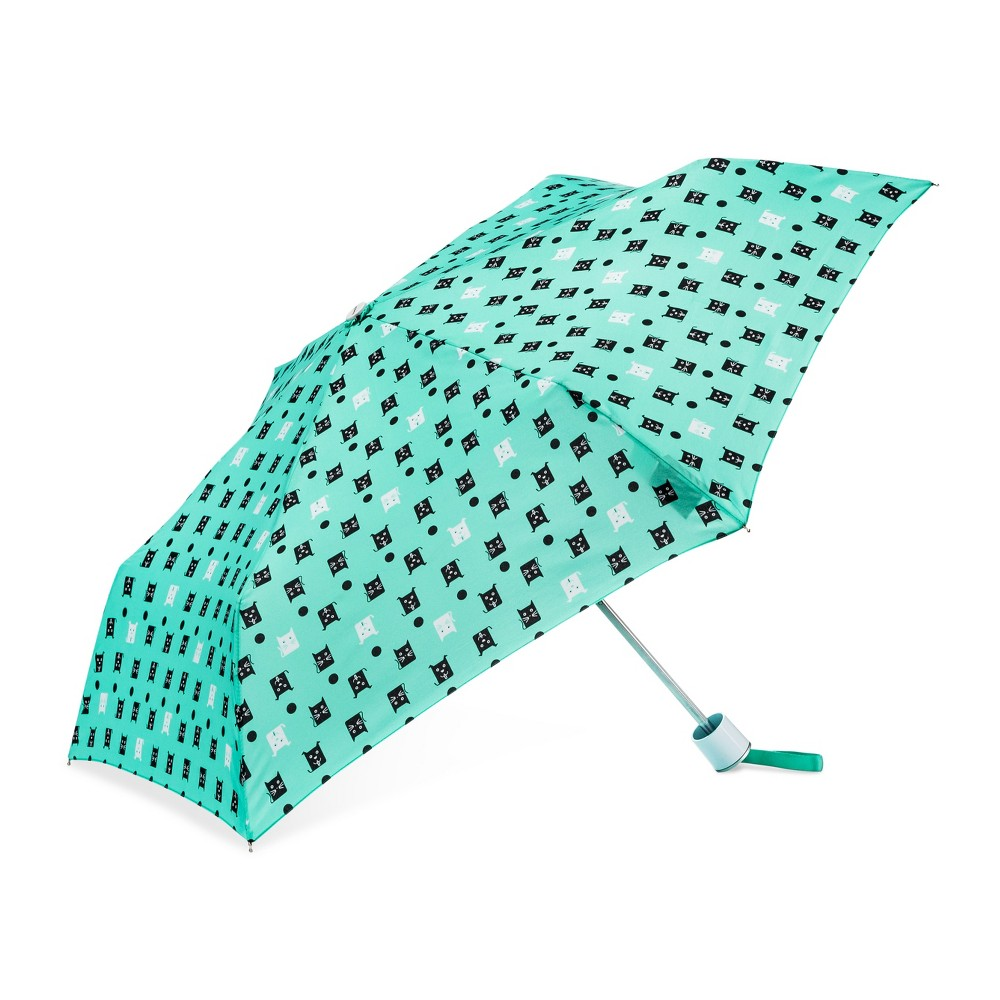 Image of Cirra by ShedRain Cats and Dogs Compact Umbrella - Light Mint