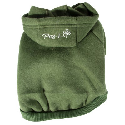 Pet Life Fashion Plush Cotton Dog and Cat Hoodie - Green