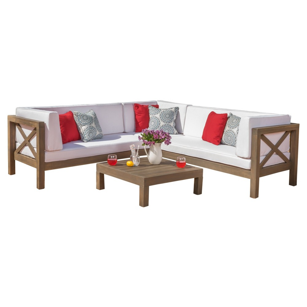 Excellent Brava 4Pc Wood Patio Chat Set W Cushions White Christopher Pdpeps Interior Chair Design Pdpepsorg
