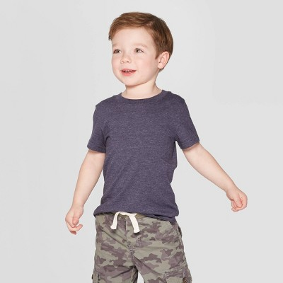 Toddler Boys' Short Sleeve Solid T-Shirt - Cat & Jack™ Navy 12M