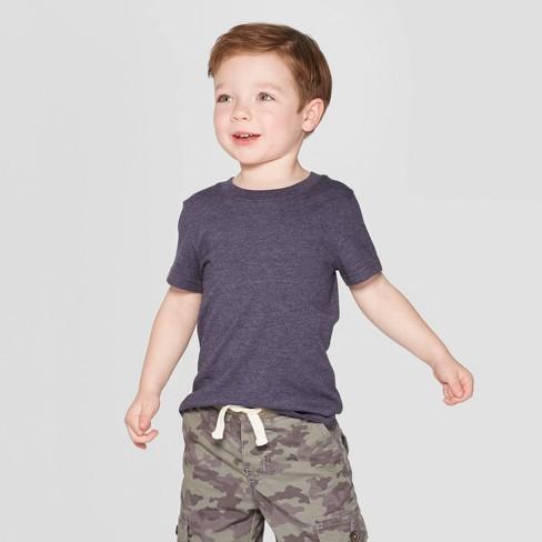 Toddler Boys' Short Sleeve Solid T-Shirt - Cat & Jack™ Navy - image 1 of 3