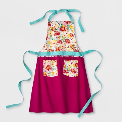 Pink Floral Apron with Pom Tasseled Trim - Opalhouse™