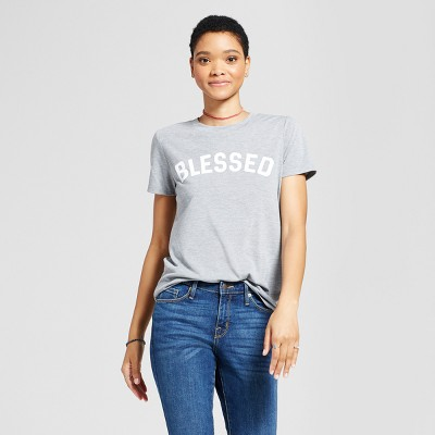 Women's Blessed Graphic T-Shirt Gray S - Modern Lux (Juniors')