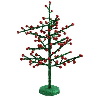 """Napco 21.5"""" Red and Green Berry Glitter Christmas Tree Tabletop Decor"""