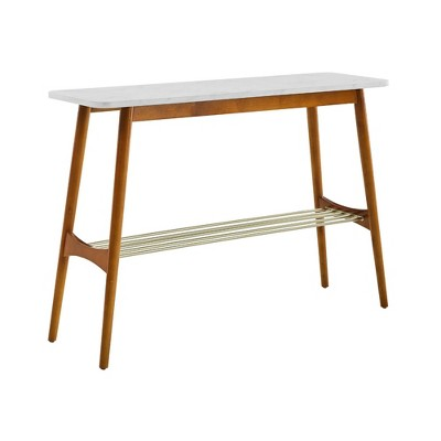Barbara Mid-Century Modern Entry Table with Lower Storage Rack - Saracina Home