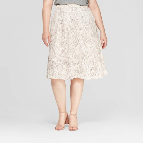 Women's Plus Size Snake Print Midi Skirt - Ava & Viv™ Silver - image 1 of 2