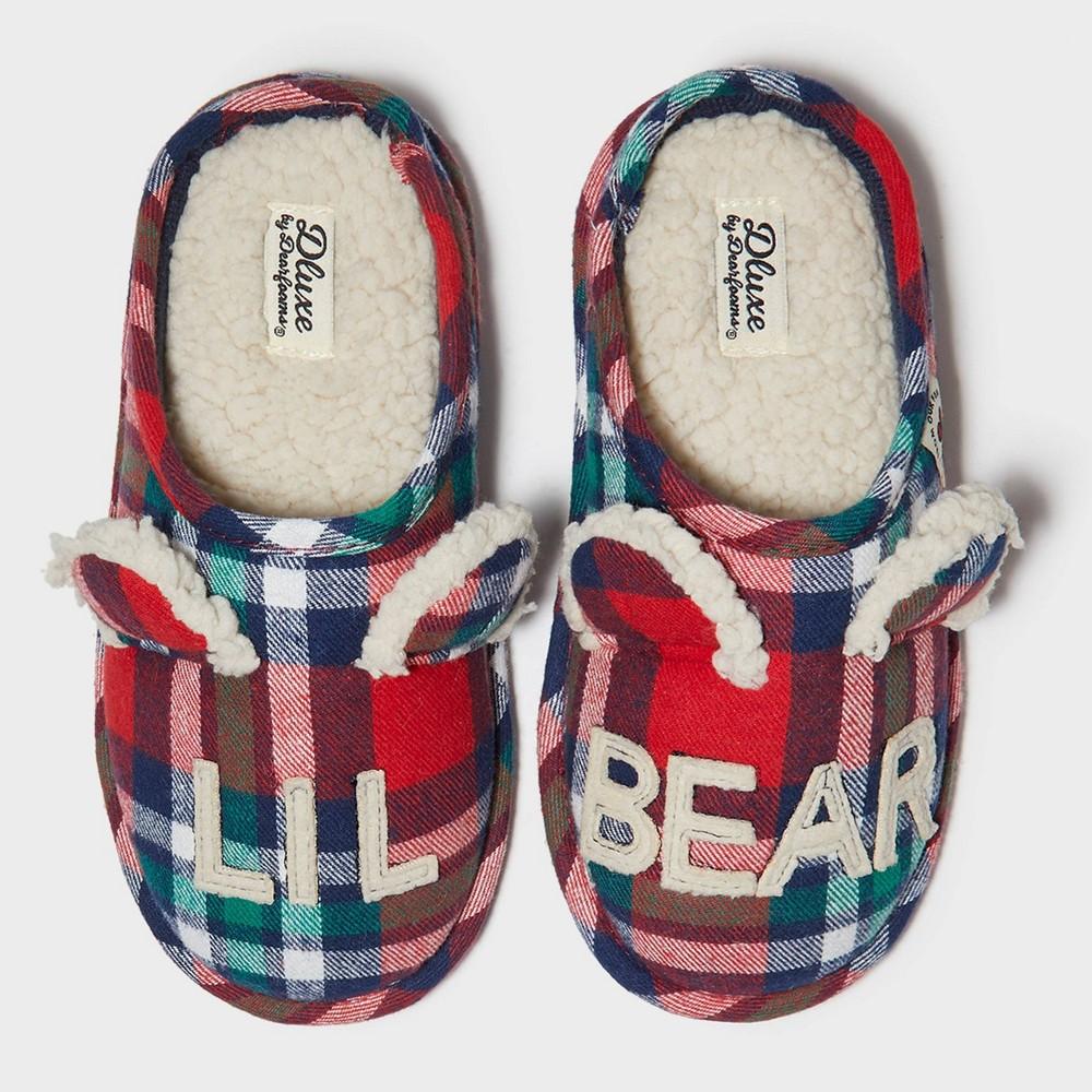 Image of Kids' dluxe by dearfoams Lil Bear Slide Slippers - Red 9-10, Kids Unisex, Blue Green Red