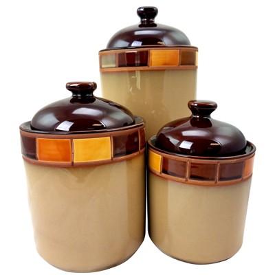 Casa Estebana 3 Piece Stoneware Storage Canister Container Jar Set