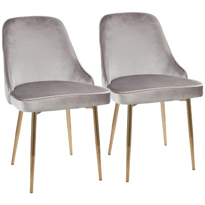 Superieur Set Of 2 Dining Chairs LumiSource Silver Gold