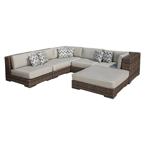 Glenoaks 6pc Seating Sectional with Sunbrella Cushions - Light Brown - Christopher Knight Home - image 1 of 4