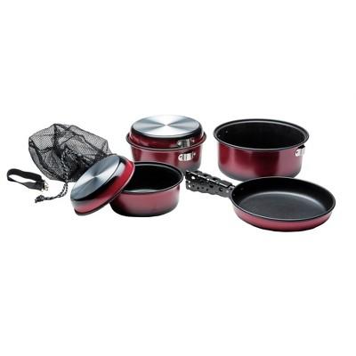 Texsport Kangaroo 7 Piece Non Stick Outdoor Cooking Set with Storage Bag, Red
