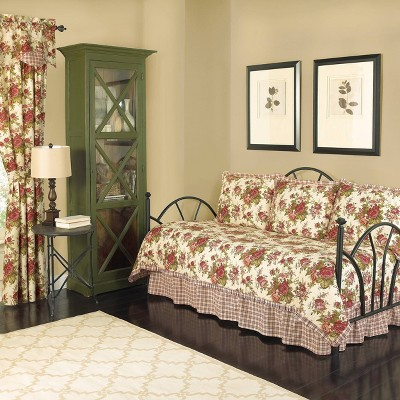 Cream Floral Norfolk Reversible Quilt Set (Daybed) 5pc - Waverly