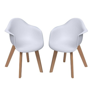 Set of 2 Kids' Chairs with Modern Plastic Seat and Beech Legs Set - Gift Mark