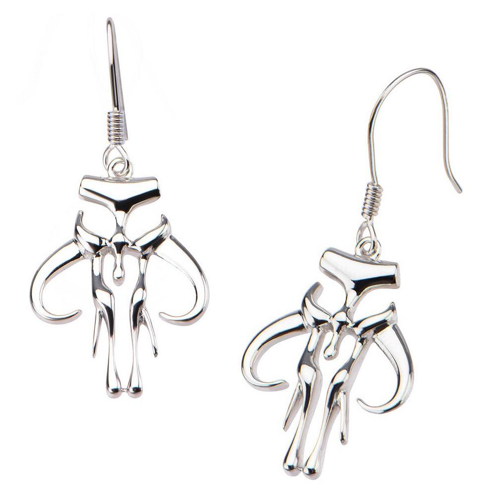 Women's 'Star Wars' Mandalorian Symbol 925 Sterling Silver Cutout Dangle Earrings
