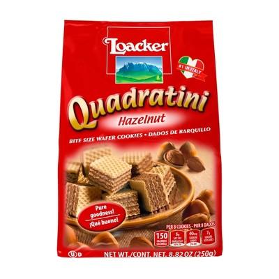 Loacker Quadratini Hazelnut Bite Size Wafer Cookies - 8.82oz