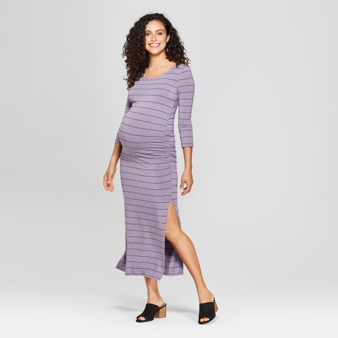Maternity 3 4 Sleeve Striped Shirred Maxi Dress Target