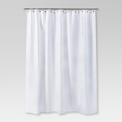 Waffle Weave Shower Curtain White
